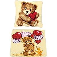 F Fityle 2 Set Latch Hook Rug Kit Handmade Bear Sofa Cushion Pillow Carpet for Handicraft Lovers