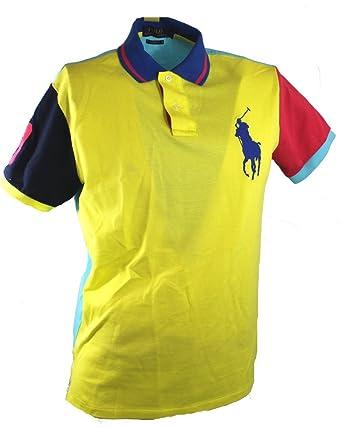 e3ee1d45c14b Polo Ralph Lauren Mens Custom fit Neon Polo T-shirt Tee Top Big Pony PR30  (Medium)  Amazon.co.uk  Clothing