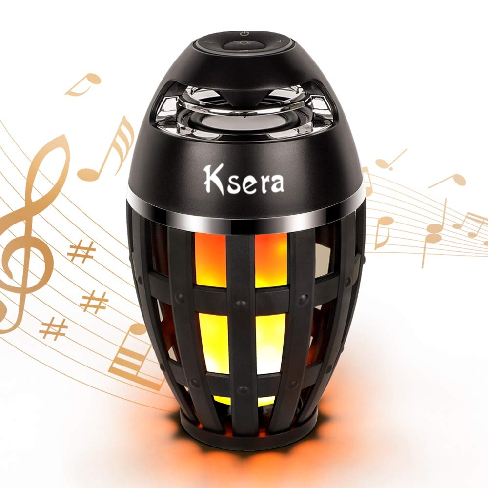 Ksera Flame Lamp SpeakerMusic Flame Atmosphere Table Lamp Portable Bluetooth Stereo Bass