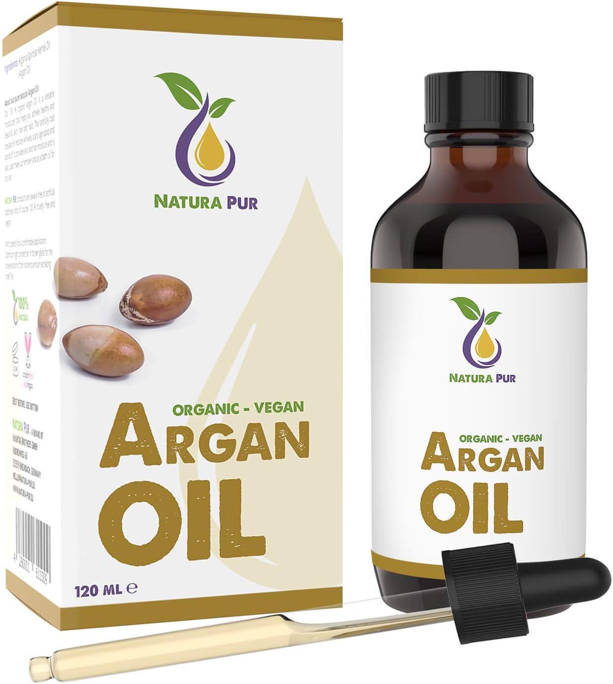 NATURA PUR Aceite de Argán Orgánico 120 ml - 100% Bio, Prensado en Frío, Vegano - de Marruecos - Sérum Antiedad, Antiarrugas para Cara, Cuerpo, Cabello, Pelo, Piel, Manos, Uñas