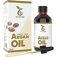 Natura Pur Bio Arganöl 120ml - 100% nativ, kaltgepresst, vegan - aus Marokko - Anti-Aging Serum für Gesicht, Anti-Falten, Körper, Haare, Haut, Hände, Nägel