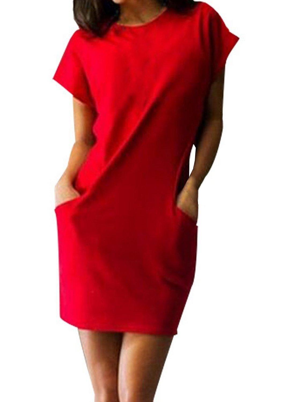 Damen Elegant Kurzarmshirts Young Fashion Sommerkleider Strandkleid Style  Outdoor Enges Kleid Cocktailkleid Kleid Casual Blusenkleider Frauen  Etuikleide: ...