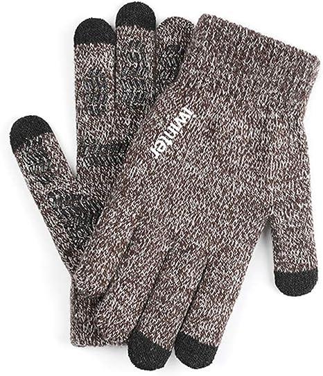 Guantes de invierno cálidos para pantalla táctil de 3 dedos para hombre, guantes de lana antideslizantes, color marrón carbón: Amazon.es: Deportes y aire libre