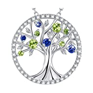 Christmas Gift For Women The Tree of Life Jewelry LC Blue Sapphire and Green Peridot Sterling...