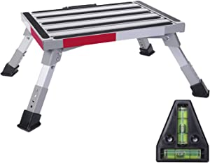 """Homeon Wheels Safety RV Steps Adjustable Height Folding Platform Step with Non-Slip Rubber Feet, Reflective Stripe, Handle, RV T Level, More Stable Up to 1000lbs 16.5"""" x 12.2"""" RV Step Stool"""