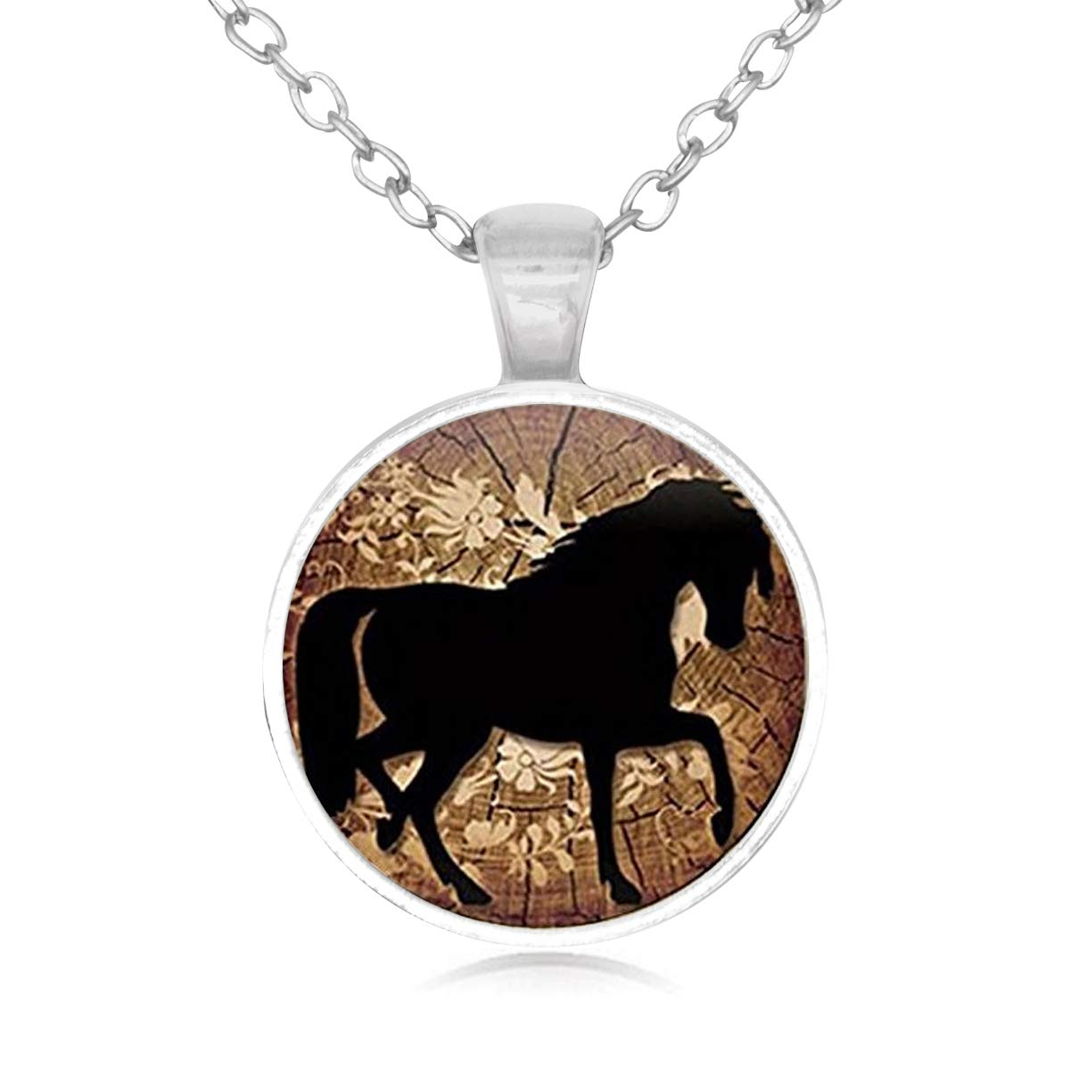 Family Decor Carousel Horse Pendant Necklace Cabochon Glass Vintage Bronze Chain Necklace Jewelry Handmade