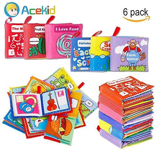 Acekid First Soft Book, Nontoxic Baby Cloth Books Early Education Toys Activity Crinkle Cloth Books for Infants - Crinkle,Colorful,Pack of 6 by Acekid