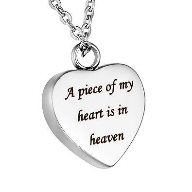 HooAMI Heart Cremation Urn Necklace for Ashes Jewellery Keepsake Memorial Pendant GskiN5uGj