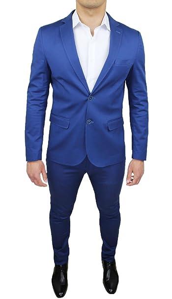 Abito completo uomo blu chiaro collezione sartoriale slim fit elegante  vestito cerimonia made in Italy (48)  Amazon.it  Abbigliamento 35e6b079fd1