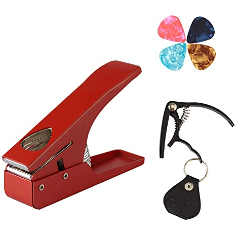 Mingpinhuius Guitar Pick Punch Maker With Guitar Capo Pick Holder Keychain Diy Picks Gifts For Kids Friends Guitar Players Red