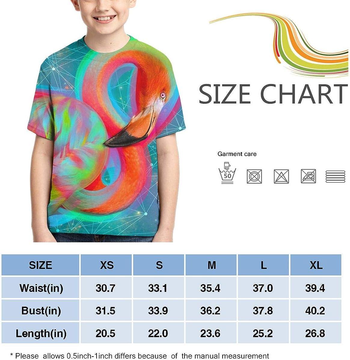 Boys Short Sleeve Neon Flamingo Colorful Lines Geometric Kids Children 3D T Shirts Teenagers Tee Tops