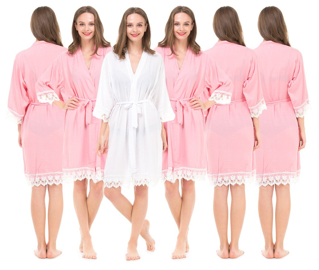 Set of 6 Women's Cotton Robes for Bride and Bridesmaid with Lace Trim by Mr&Mrs Right
