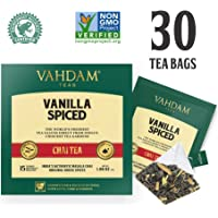 VAHDAM, Vanille gewürzt Masala Chai | 30 Teebeutel (2er-Set) | Entlastung & Erfrischung | Masala Chai Tee | Köstliche Vanille-Tee-Mischung Gewürzter Chai Teebeutel | Chai Latte