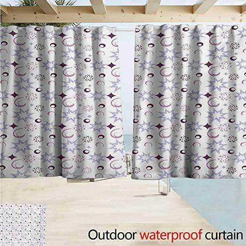 (AndyTours Rod Pocket Top Blackout Curtains/Drapes,Winter Retro Pattern Abstract Snowflake Figures Dots Circles Stars,Simple Stylish Waterproof,W55x45L Inches,Eggplant Pale Lavander Dried Rose)