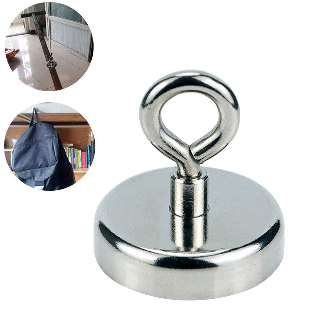 Round Neodymium Fishing Magnet Force Ultra Strong Neodymium Magnet with Eyebolt for Magnet Fishing and Salvage in River