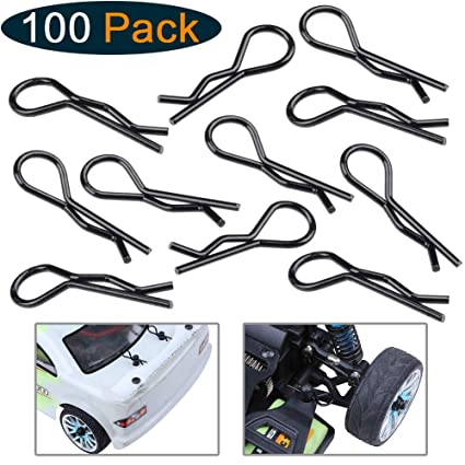 Hobbypark (100-Pack) RC Bent Body Clips Springy R Pins Black Post Mount for  1/12 1/10 RC Car Truck Crawler Buggy Shell Replacement Parts
