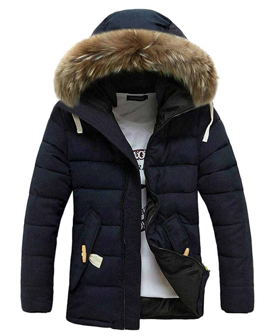 BYWX Men Outerwear Quilted Slim Thick Faux Fur Hooded Warm Down Jacket