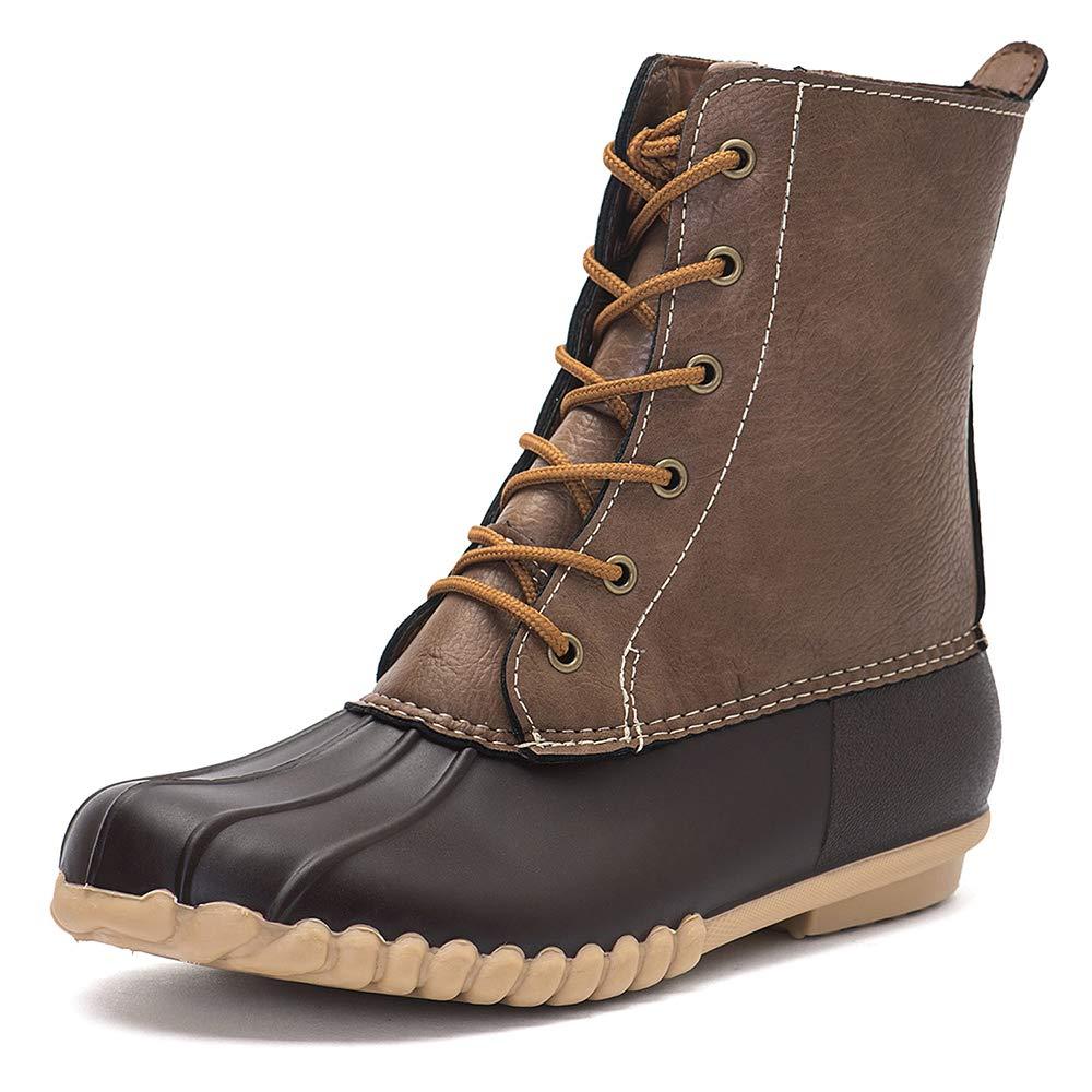 Brown DKSUKO Women's Winter Duck Boots with Waterproof Zipper
