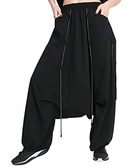 Femme Pantalon Aladin Mode Taille Élastique avec Cordon De Serrage Pantalon  Sarouel Elégante Casual Fille Vêtements 69038cbcabb