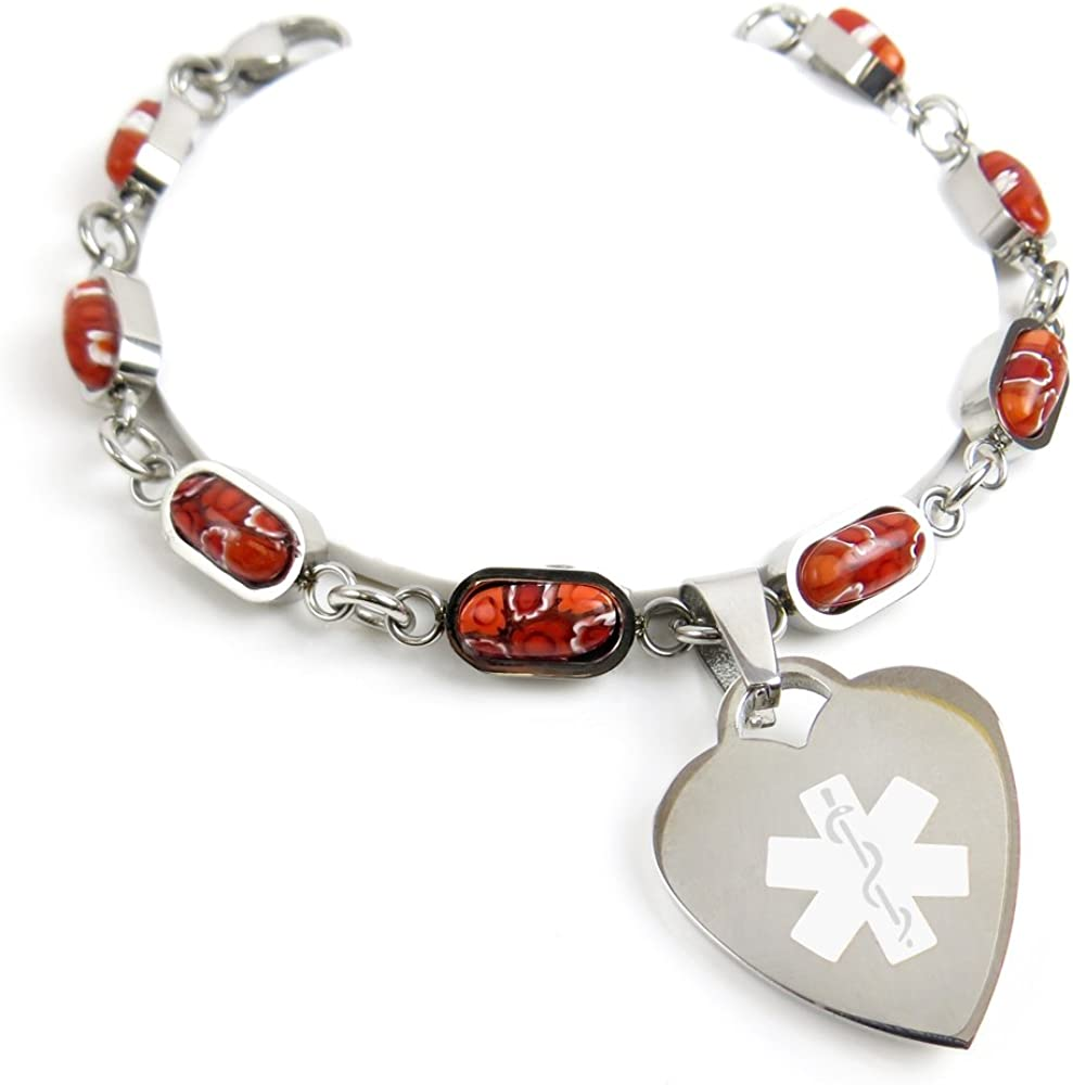 My Identity Doctor Red Red Millefiori Glass Pre-Engraved /& Customized Blood Type B Charm Medical Bracelet