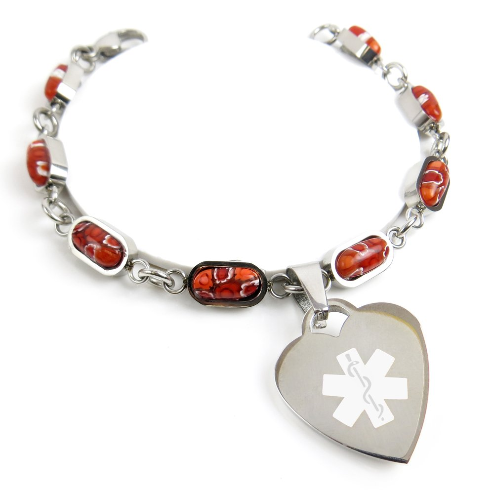 Red Millefiori Glass White My Identity Doctor Pre-Engraved /& Customized Alzheimers Charm Medical Bracelet