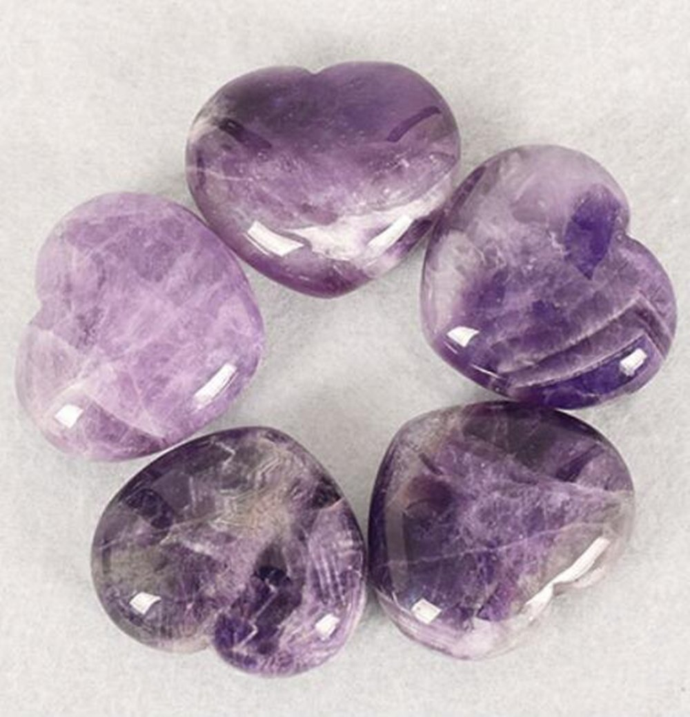 Natural Amethyst Gemstone Healing Crystal Puff Heart Love Worry Fengshui Stone Chakra Reiki Balancing Massage and Decoration by JRT (Image #2)