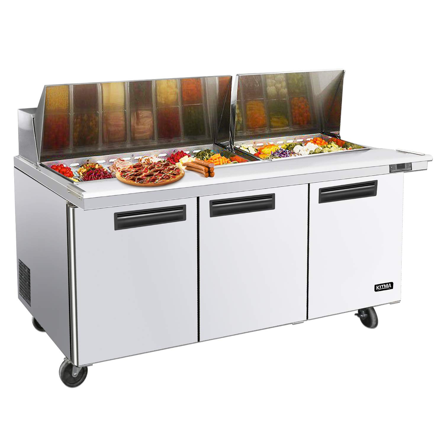 KITMA 73'' Sandwich Prep Table Three Door Refrigerator, 21.1 Cu.Ft. Commercial Stainless Steel Pizza Salad Prep Table Refrigerated with 18 Pans, 33-45 degrees Fahrenhei by KITMA