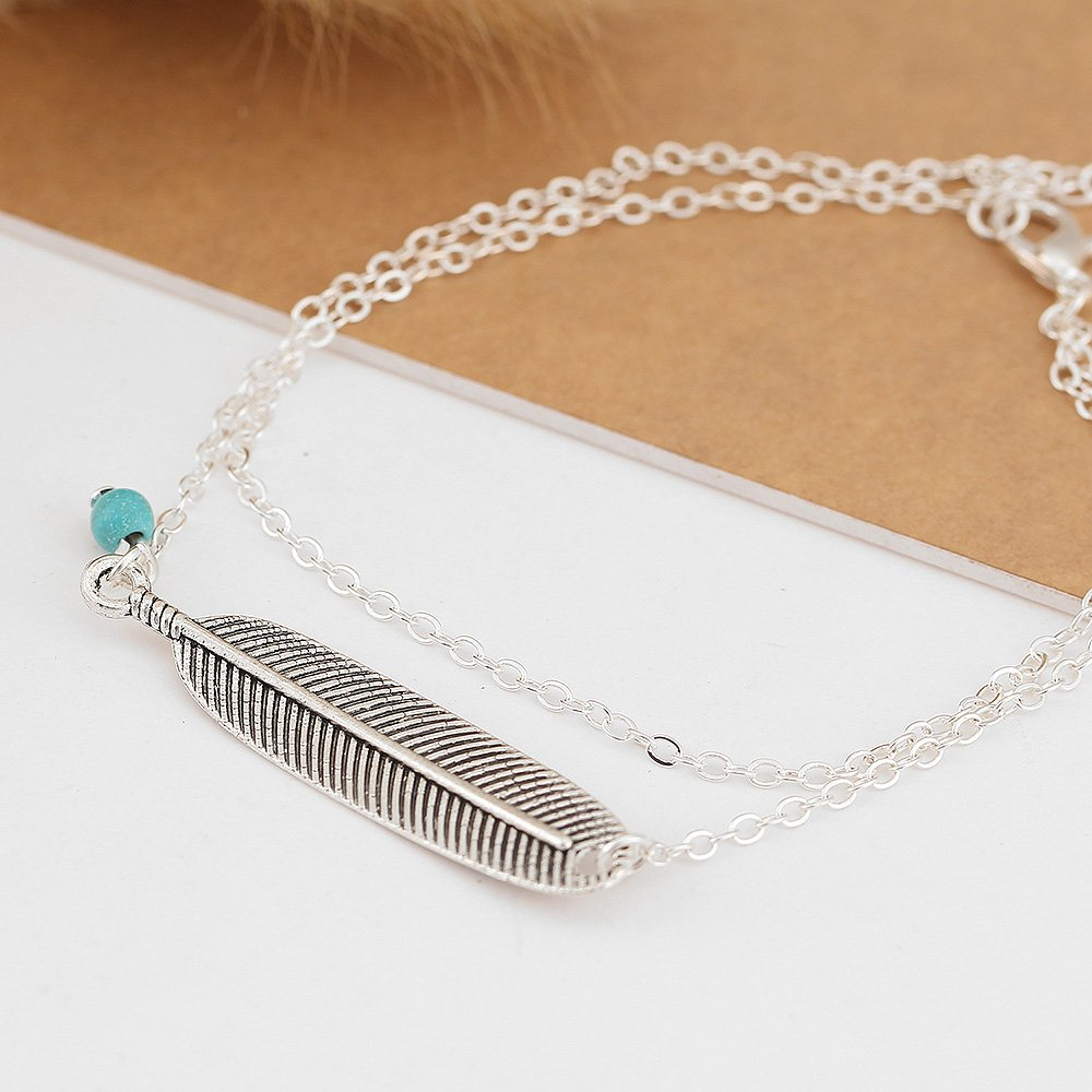 MINGHUA Feather Leaf Pendant Double Layers Women Girls Anklet Summer Holiday Beach Foot Chain Jewelry B07D1KNM1Z/_US