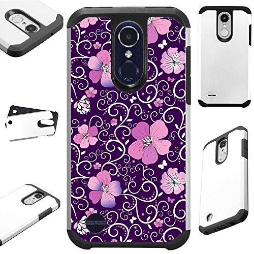 For LG K30 X 410 | LG K10 (2018) | LG K10 Plus | LG K10 Alpha | LG Premier Pro L413DL | LG X4 Case Hybrid TPU Fusion Phone Cover (Purple Flowe Vine) ()