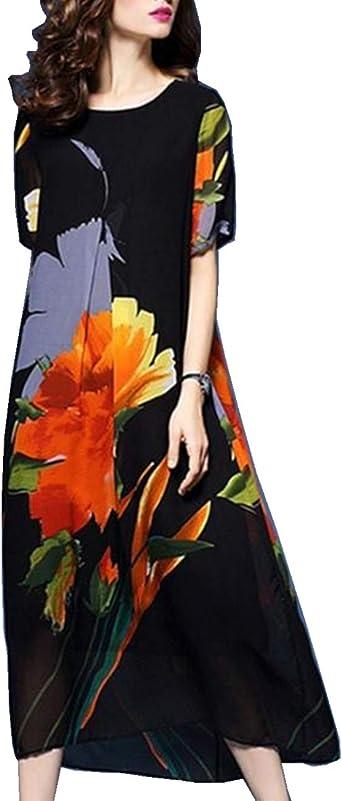 Boan Vestido Para Mujer Talla Grande Comodo Manga Corta Estampado Con Flores Grandes Para La Vida Cotidiana Playa Vacaciones Y Verano Amazon Es Ropa Y Accesorios