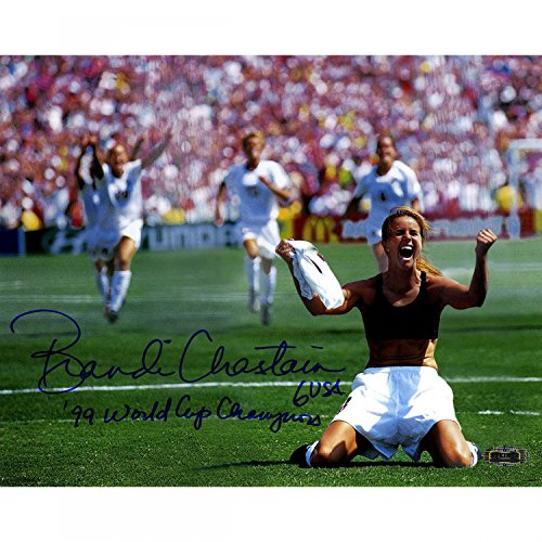Steiner Sports Brandi Chastain Signed PK Celebration 8x10 Photo Horizontal w 99 World Cup Champions insc.