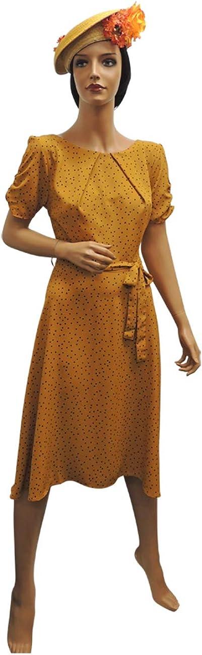 1940s Dresses | 40s Dress, Swing Dress New Ladies Mustard Yellow Polka Dot WWII 1930s 40s VTG Style Wartime Tea Dress £32.99 AT vintagedancer.com