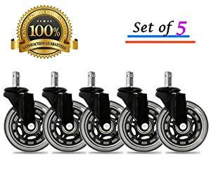"Universal Office Chair Caster Wheels Set of 5 Heavy Duty & Safe for All Floors Including Hardwood 3"" Rollerblade Rubber Replacement for Desk Floor Mats"
