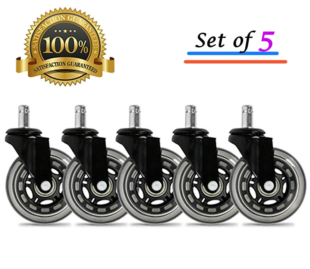 Universal Office Chair Caster Wheels Set of 5 Heavy Duty & Safe for All Floors Including Hardwood 3'' Rollerblade Rubber Replacement for Desk Floor Mats