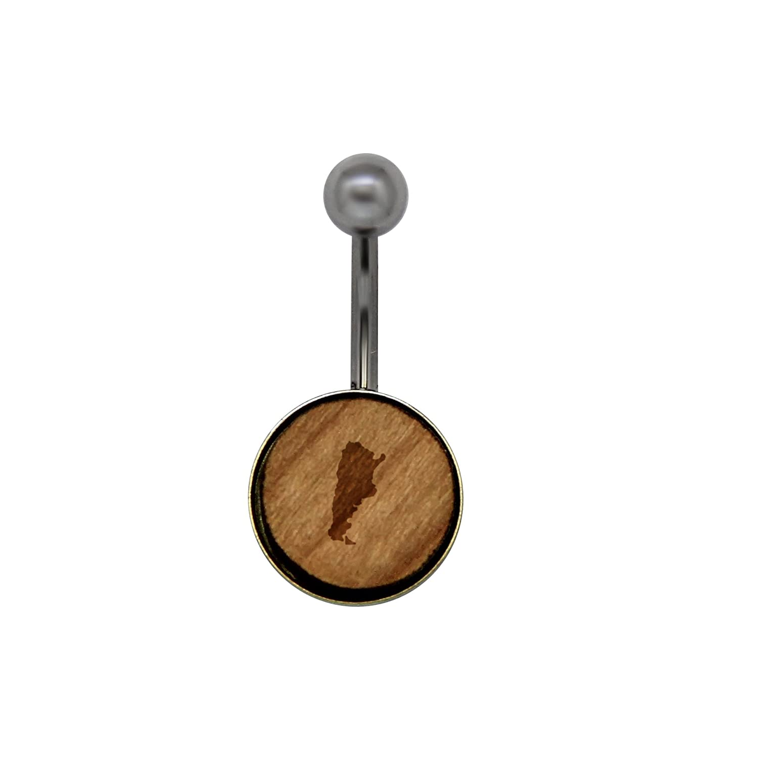 Rustic Wood Navel Ring with Laser Engraved Design Size 14 Gauge Wooden Navel Ring Argentina Surgical Stainless Steel Belly Button Rings