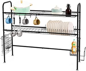 Dish Drying Rack Over the Sink, 2-Tier Dish Drainer for Home Kitchen Counter Storage, Large Stainless Steel Dish Dryer, Black