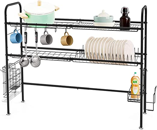 Amazon Com Heomu Dish Drying Rack Over The Sink 2 Tier Dish