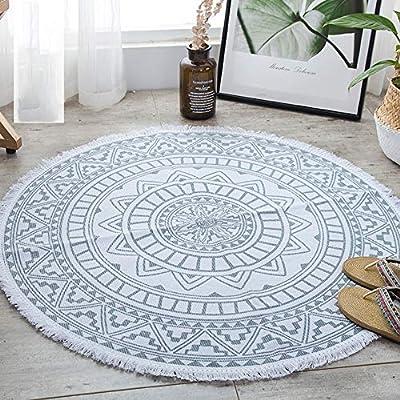 J Home textile Alfombra Redonda de algodón con borlas Mandala ...