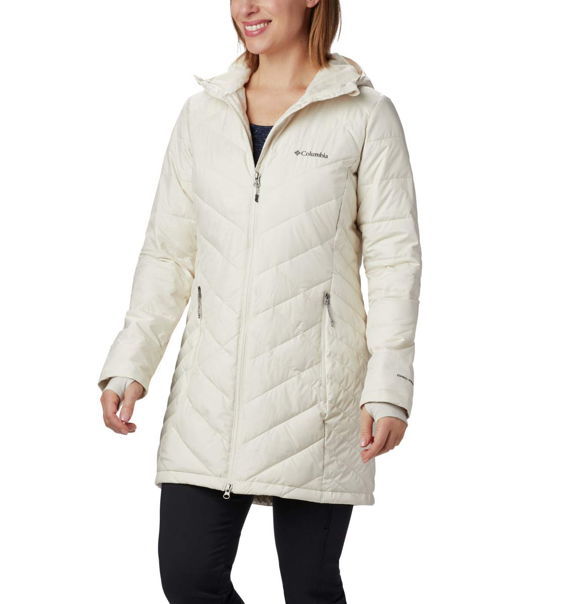 Columbia Women's Heavenly Long Hooded Jacket, Chalk, 2X by Columbia