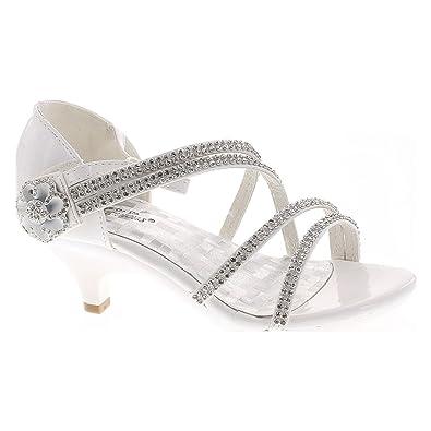 23c5f93265bff2 Forever Glamour-28 Kids Rhinestone Flower Sparkling Bling Heel Designed  Dress Sandals