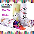 72 Colors Dual Tips Art Sketch Twin Washable Markers Brush Pens 0.4mm fine tip markers with Carrying Case for Drawing Coloring Adult Coloring Books Bullet Journal Note Taking Drawing Planner Art