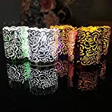 FLAMELESS TEA LIGHT VOTIVE WRAPS 50 laser cut decorative wraps for Flickering LED Battery Tealight Candles , Assorted color