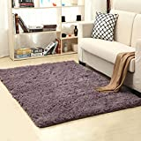 LOCHAS Soft Indoor Modern Area Rugs Fluffy Living Room Carpets Suitable for Children Bedroom Decor Nursery Rugs 4 Feet by 5.3 Feet (Gray-Purple)