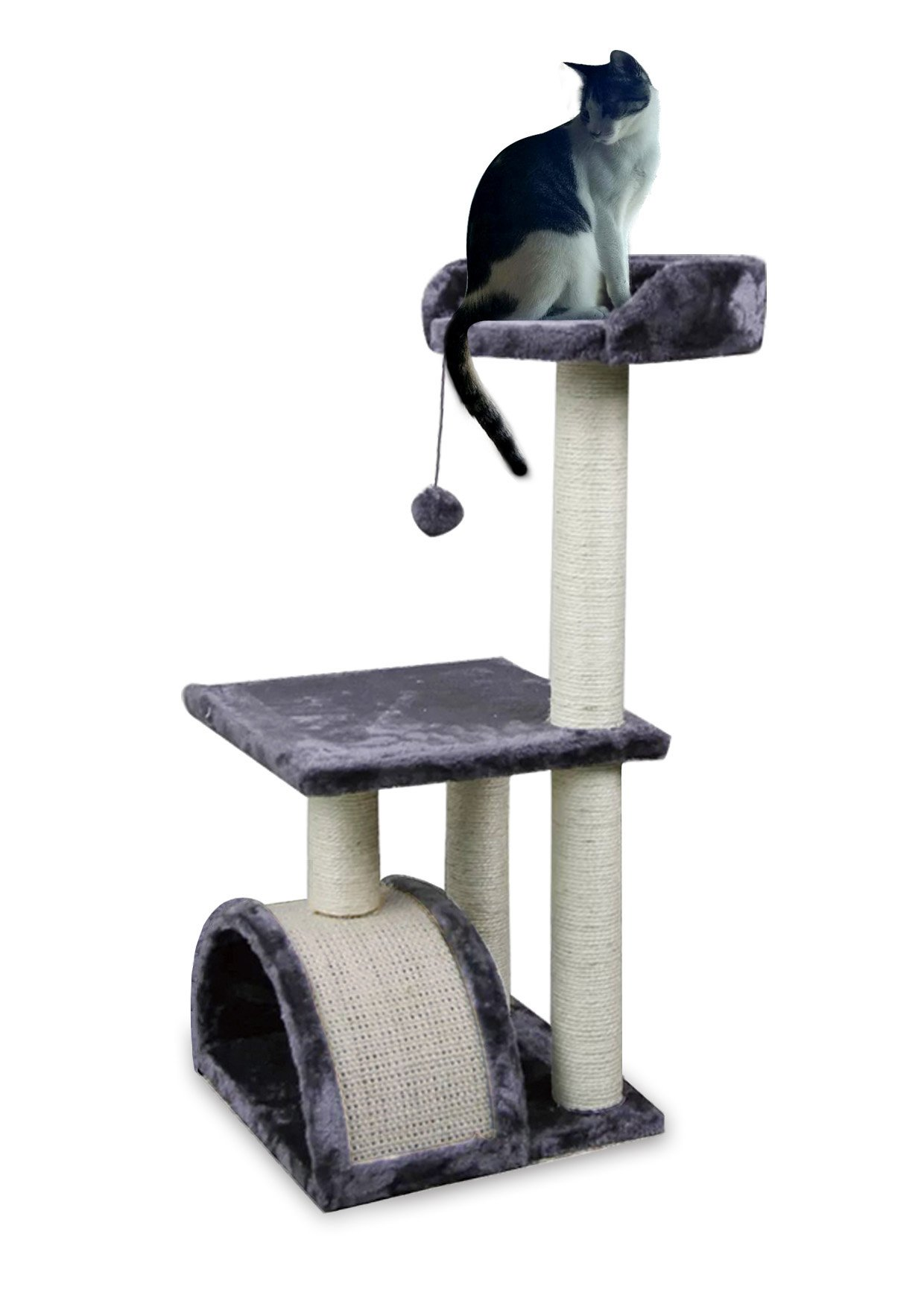 Roypet 32'' Cat Tree with Scratching Pad and Perch, grey