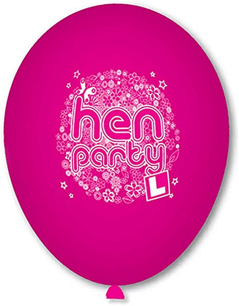 Unique Party 56068-9 Latex Assorted Pink Hen Party Balloons Pack of 10