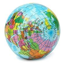 BleuMoo World Map Foam Earth Globe Stress Relief Bouncy Ball Toy