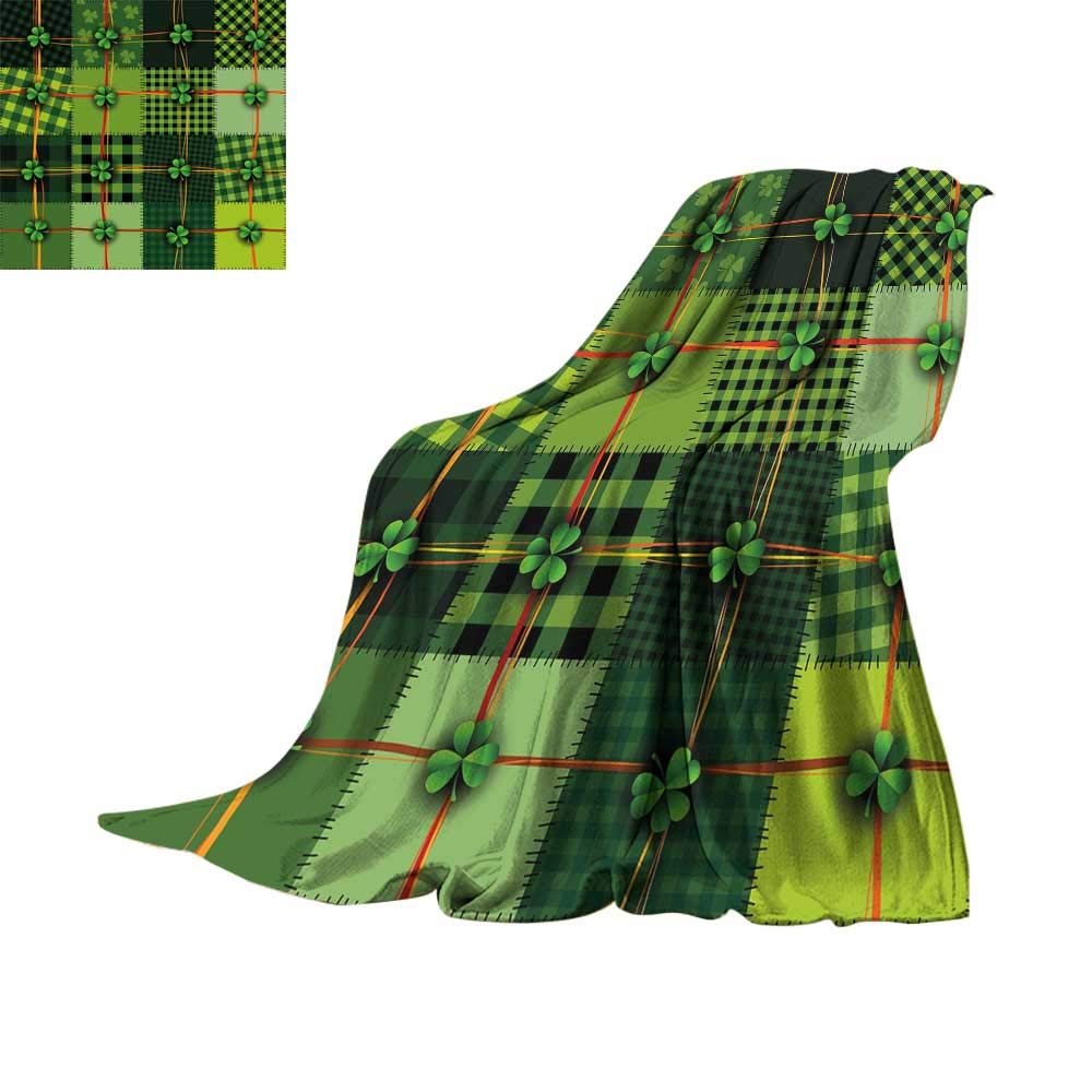 RamonDecorFH Irish,Printed Throw Blanket Patchwork Style St. Patricks Day Themed Celtic Quilt Cultural Checkered with Clovers Throws for Couch Bed Living Room W50 x L30 inch