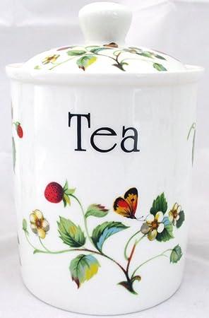 Fresas y mariposas té recipiente de porcelana tarro de fresas y pintada a mano en el Reino Unido entrega GRATUITA Reino Unido: Amazon.es: Hogar