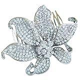 Sindary 3.74 Inch Silver-tone Clear Rhinestone Crystal Flower Hair Comb Wedding Headpiece