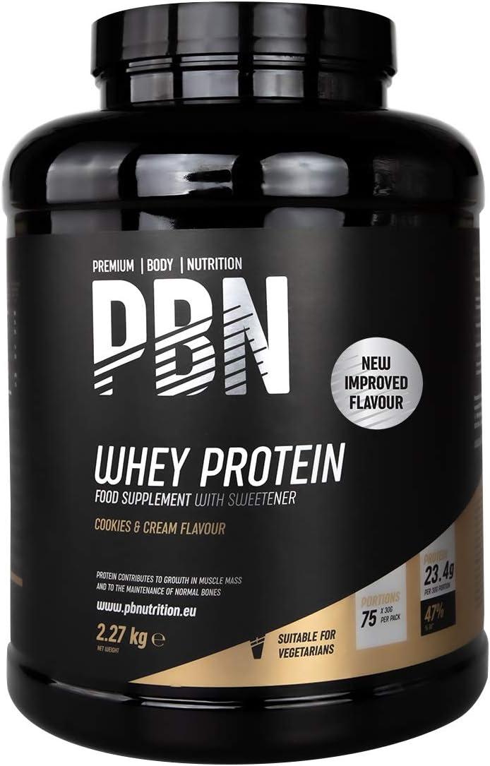 PBN Premium Body Nutrition - Proteína de suero de leche en polvo, 2.27 kg (Paquete de 1), sabor Galleta y nata, sabor optimizado